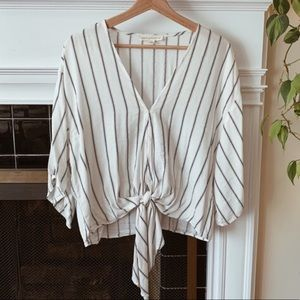 Striped Flowy Tie Front Blouse